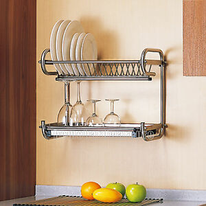 Image is loading 2-Tier-Kitchen-Drip-Dish-Drainer-Plates-Rack- & 2 Tier Kitchen Drip Dish Drainer Plates Rack Bowl Stainless Steel ...