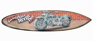 Deko Surfboard 100cm mit Motorrad Motiv Biker Hartholz Harley