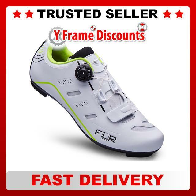 FLR F-22.II Pro Road shoes in Matt White Neon Trim