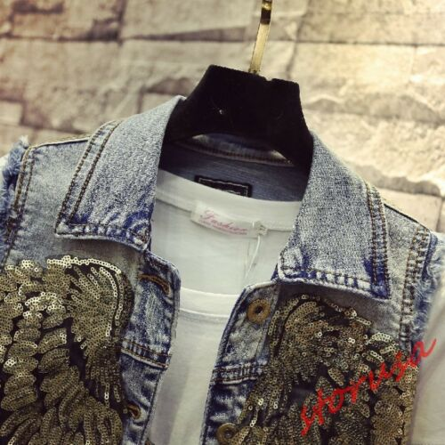 Jeans Denim Vest Veste Ailes Filles Fashion Fit Courte Slim Paillettes Sz Gilet XwAYqz