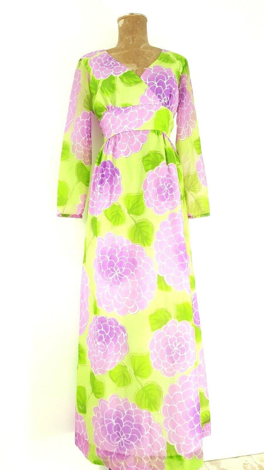 Vintage 60s Malia Honolulu Dress Size Medium Empi… - image 2