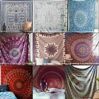 Indian Handmade Printed Bedspread Bohemian Mandala Bed Sheet Bed Cover Tapestry