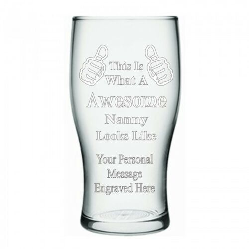 Awesome Pint Glass Engraved Gift Personalised Thumbs Up