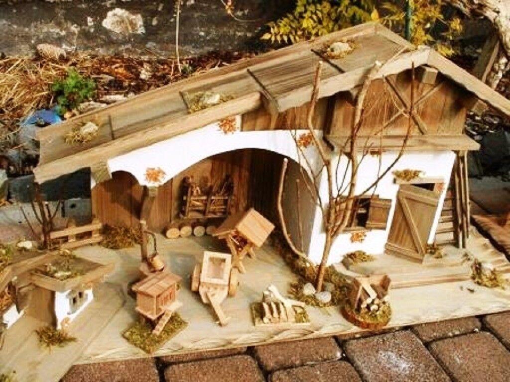 2 X Maison 80 cm + maison en bois 30 cm + 6 Pcs Accessoires bois étable crèche puits