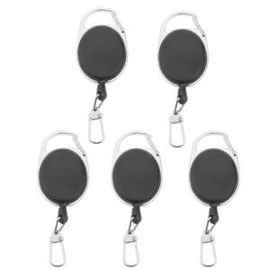 2pcs Retractable 60cm Nylon Pull Reel Key Ring ID Holder with Belt Clip