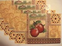Country Apple Kitchen Home Decor Printed Vinyl/plastic Placemats Set Of 4