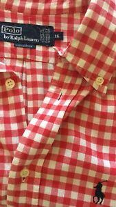 buy popular 754d4 82c89 Dettagli su Camicia Uomo Polo Ralph Lauren Tg XL a Quadretti Rossa E Bianca