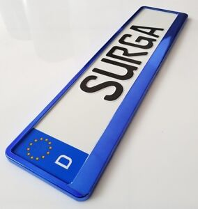 2-x-Kennzeichenhalter-Nummernschildhalter-Kennzeichenrahmen-BLAU-BLUE-LOOK-Neu