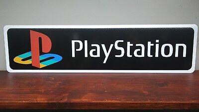 Playstation Logo Aluminum Black Background 6 X 24 Ebay