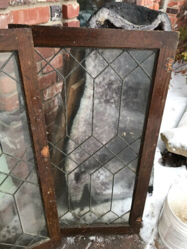 Sg 1741 2Available Priced Each Antique Oak Lead Glass Cabinet Doors 22 x 41.75