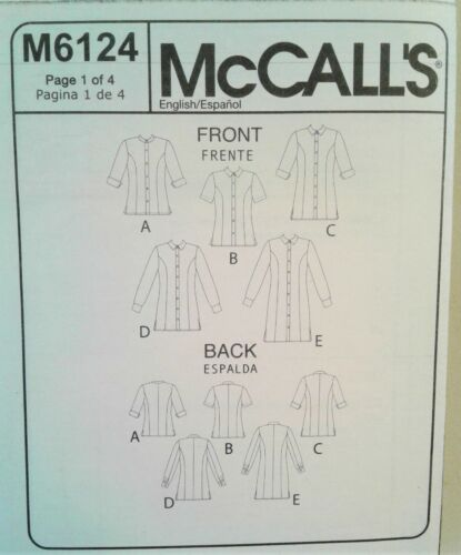 6-24W McCalls M5138 M6124 Button Front Shirt Dress Blouse Cuffs Sewing Pattern