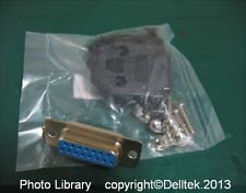 DB15F Connector Female 15pins Solder  + Cover Black    1 Years warranty