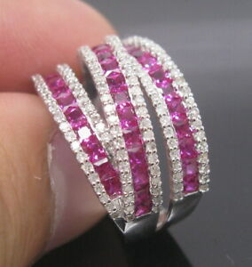 New-Design-Solid-14K-White-Gold-Natural-Sparkly-Diamond-Red-Ruby-Engagement-Ring