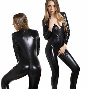 4 Way Zip Sexy Shiny Black Stretch Pvc Spandex Catsuit