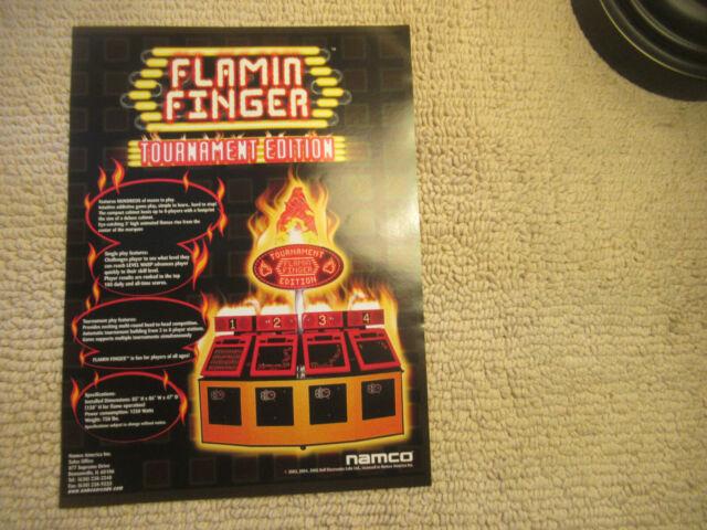 odd size 11- 8.5'' FLAMIN FINGER TOURNAMENT EDITION arcade video game flyer