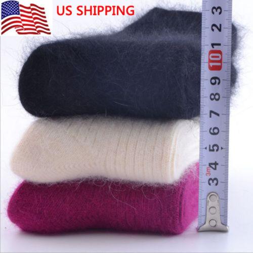3 Pairs US Women 100/% Wool Cashmere Solid Warm Winter Thicken Dress Socks
