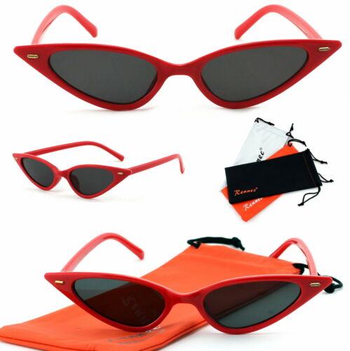 Rennec Extrem Cat Eye Sonnenbrille Katzenaugen Damen Dreieckig Schmal Vintage T7