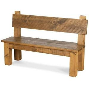 any-size-made-SOLID-WOOD-CHUNKY-RUSTIC-PLANK-PINE-HIGH-BACK-DINING-TABLE-BENCH