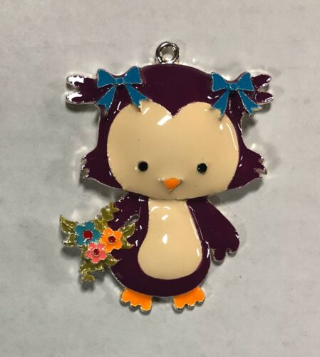 """CUTE PURPLE OWL WITH HAIRBOWS AND FLOWERS  2/"""" Enamel Charm Pendant SHIPS FREE"""