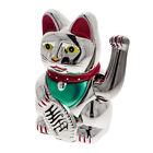 Winkende Katze Winkekatze Glückskatze Feng Shui Dekofigur Talisman 16cm silber