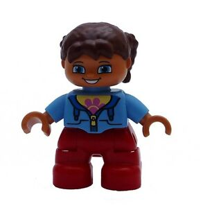 Lego-Duplo-Fille-marron-Cheveux-rouge-Jambes-bleu-clair-Nouvelle-Shirt-Enfant
