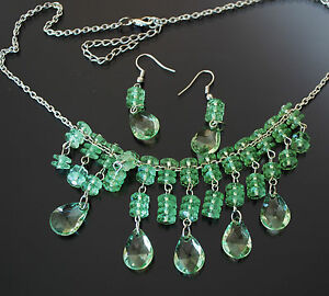 Necklace Chain Necklace + Earrings Pearls Acrylic Clear Green Girls Princess