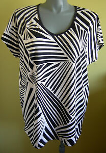 Ladies-Cap-Sleeve-Blouse-Top-T-Shirt-Black-White-Casual-Crossroads-Size-XL-18