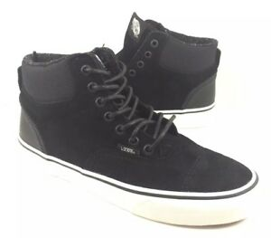 NEW Vans Era Hi Mens Pig Suede Nylon Double Black Skate Shoes ... af3bd1613adf5