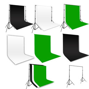Photo-Studio-Black-White-Green-Cotton-Muslin-Backdrop-2x3m-Background-Stand-Kit
