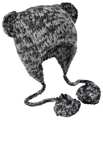 KIDS NEW HAND KNIT CAT EARED BEANIE SKI HAT SKULL SNOWBOARD CHULLO CAP LADIES