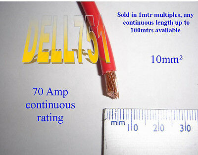 1mtr Battery Lead M10 to M10 Terminals 16mm2 110amp Red Cable