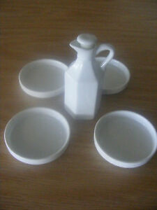 White Ceramic Bread Dipping Dishes 4 Amp Oil Decanter With