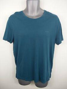 Para-Hombre-Hugo-Boss-Verde-Azulado-Oscuro-Cuello-Redondo-Informal-de-Manga-Corta-Camiseta-Talla-M