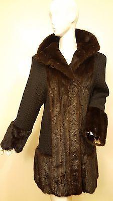 Vtg., MAX NUGUS Haute Couture, Black, Woven Wool/Mink Trim Coat 1970s (Sz Med)