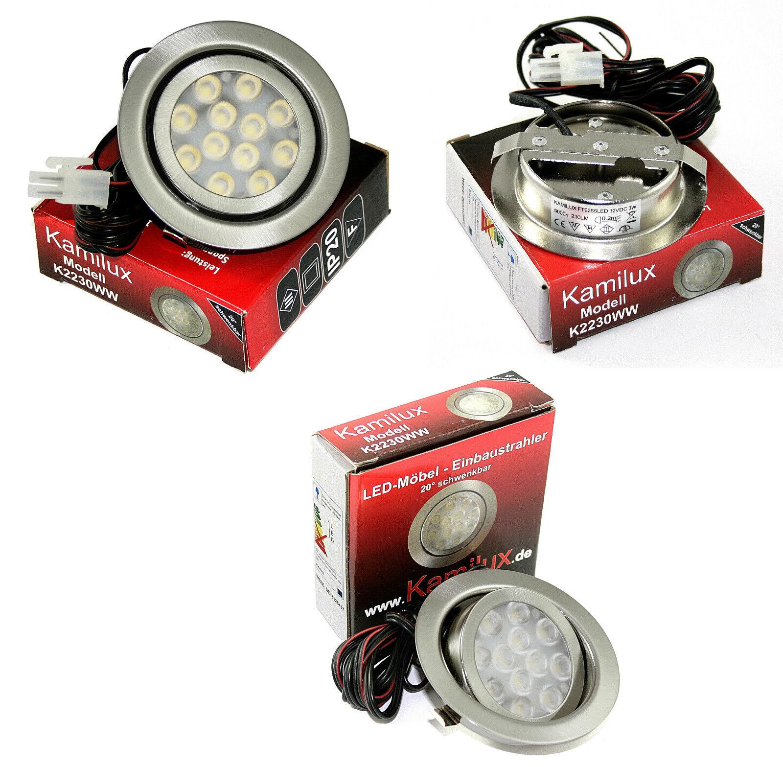 1-10er Sets flache IP20 Einbaulampen Moo LED 12Volt Möbelleuchten 3W