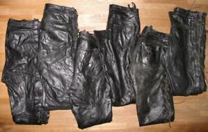 6x-Schnuer-LEDERJEANS-Lederhose-n-aus-GLATTLEDER-in-schwarz-versch-Groessen