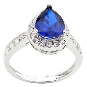 Women-925-Sterling-Silver-Ring-7x9mm-Pear-Cut-Simulated-Blue-Sapphire-CZ-Jewelry