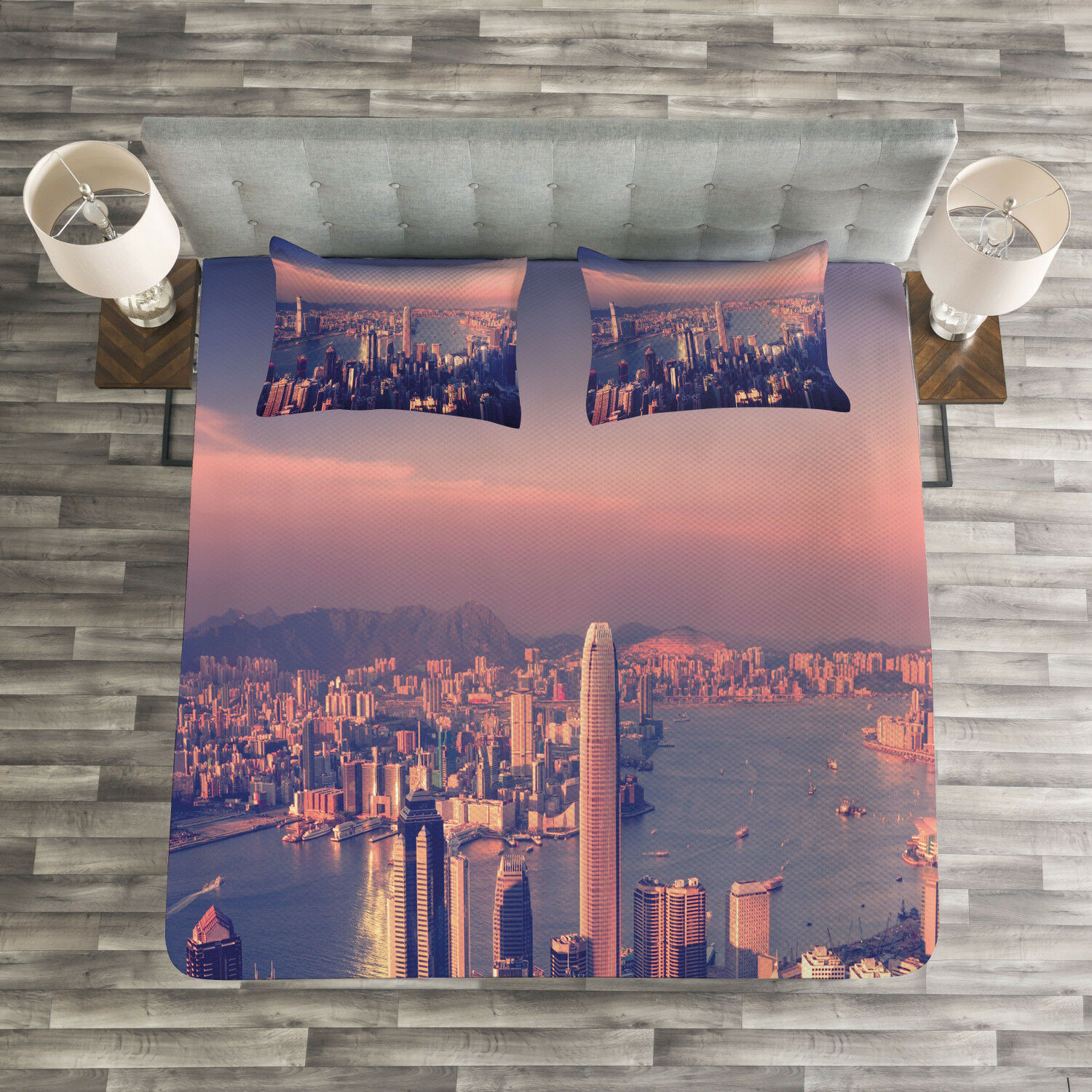 City Quilted Bedspread & Pillow Shams Set, Dreamy Hong Kong Scenery Print