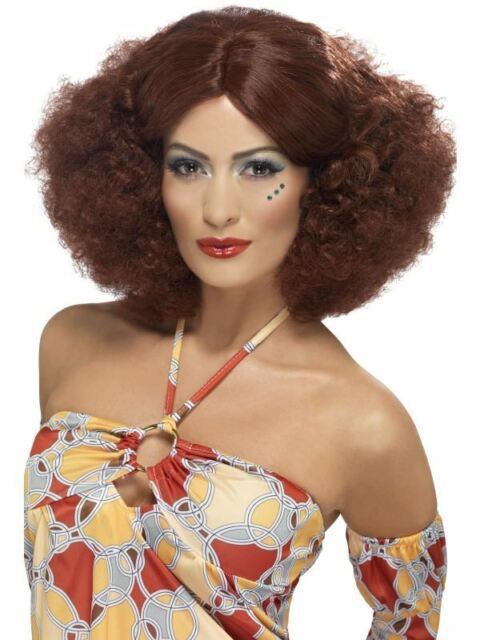 Short Auburn Afro Wig, 70's Afro Wig With Middle Parting, Fancy Dress