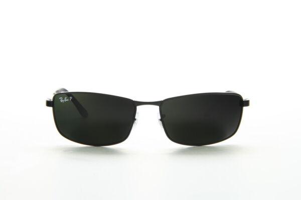 e7f1641bf3 Ray-Ban RB3498 002/9A Polarized Rectangular Sunglasses - Black/Polarized  Green for sale online   eBay