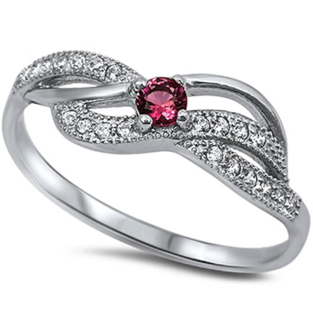 New Ruby & Cz Fashion .925 Sterling Silver Ring Sizes 4-12