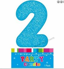 Item 1 CAKE CANDLE NUMBER 2 GLITTER BLUE 2ND BIRTHDAY PARTY BOYS SECOND TWO 21ST 12TH