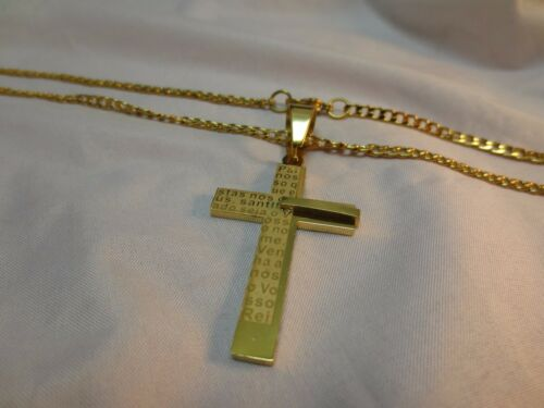 """15/""""-36/"""" 24 KT EP GOLD STAINLESS STEEL 3MM CURB CHAIN SPANISH CROSS PENDANT-P3"""
