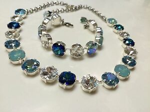Swarovski Crystal Elements Necklace 12mm Multicolor Blues 4470 Cupchain NEW