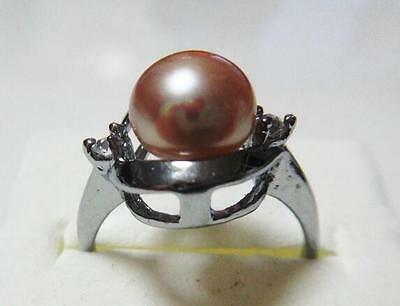 Pearl Fine Jewelry New Genuine Natural 10-11mm South Sea Pink Pearl Ring Size5-7 Silver Clear And Distinctive
