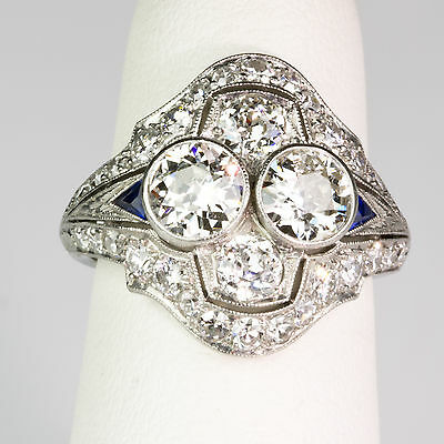 Art Deco Platinum Diamond 2.50 ctw & Sapphire Ring Gorgeous Important  ER873
