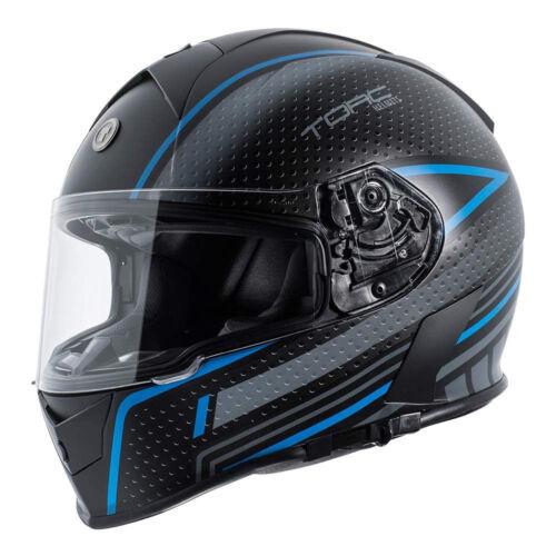 Torc T14 Mako Matte Black Scramble Blue Motorcycle Scooter Bike Helmet X Large