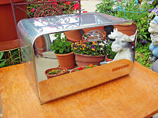 VINTAGE 1950s CHROME BEAUTY BOX BREAD BOX PIE SAFE W/CUTTING BOARD BY LINCOLN