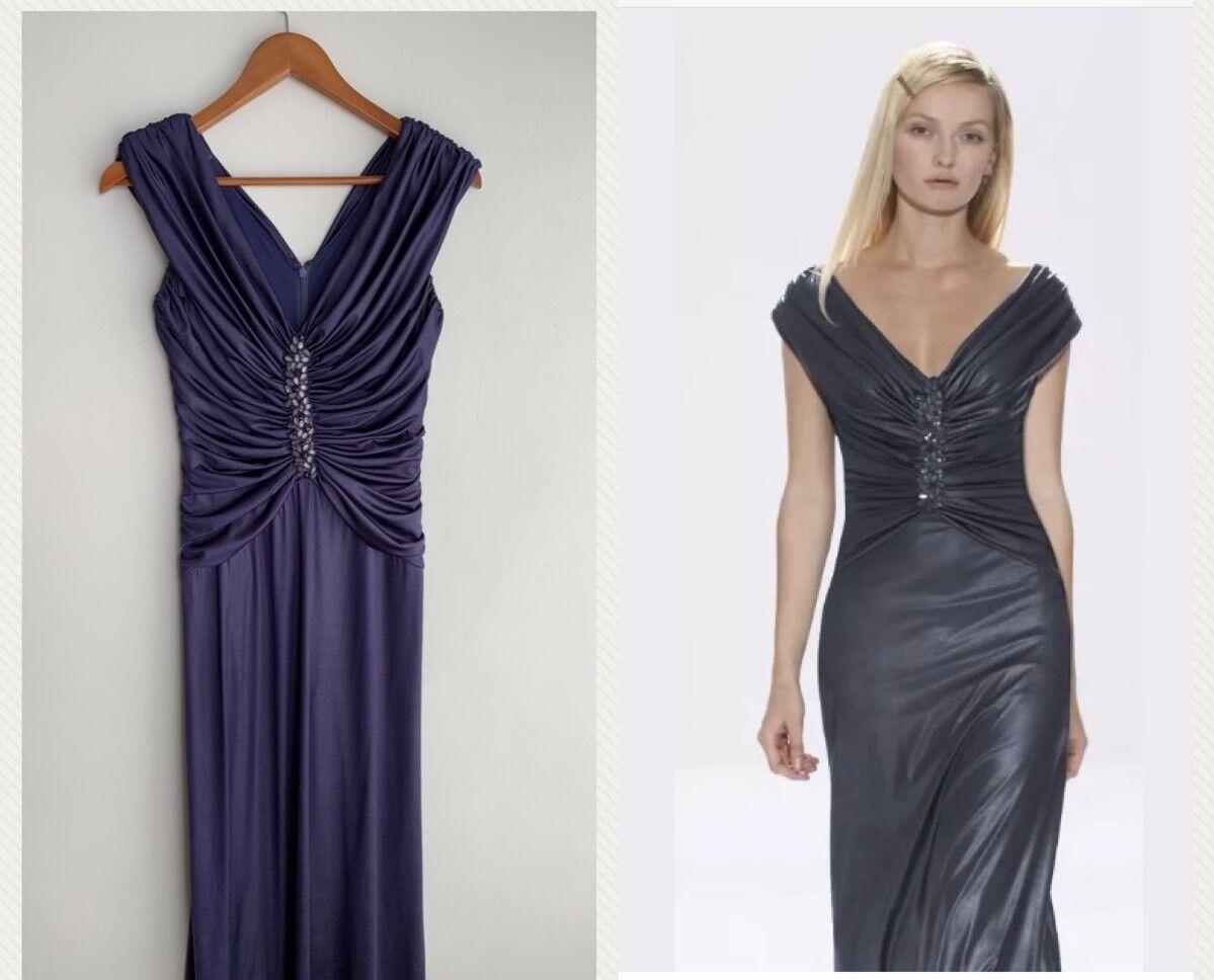 Tadashi Shoji Ruched Jewel Top Evening Dress, Purple, XS,  368, full length, B13