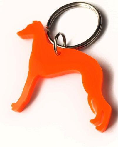 Whippet Dog Keyring Lanyard Keychain Bag Charm Gift in Orange